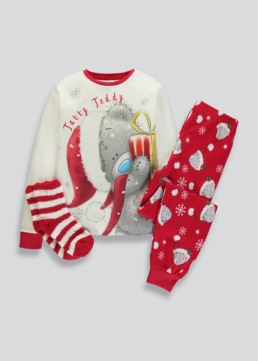 Kids Tatty Teddy Christmas Pyjama & Socks Set (6-13yrs)