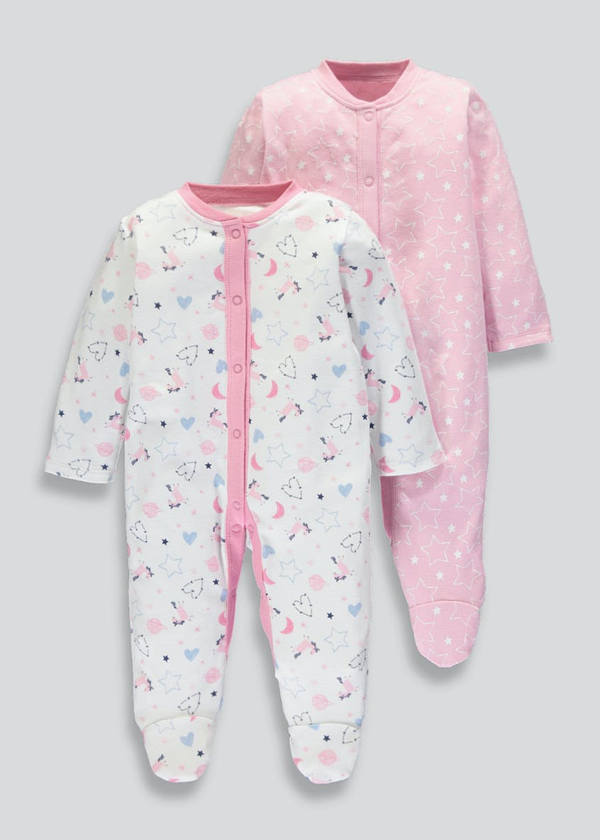 Unisex 2 Pack Printed Sleepsuits (Tiny Baby-18mths)
