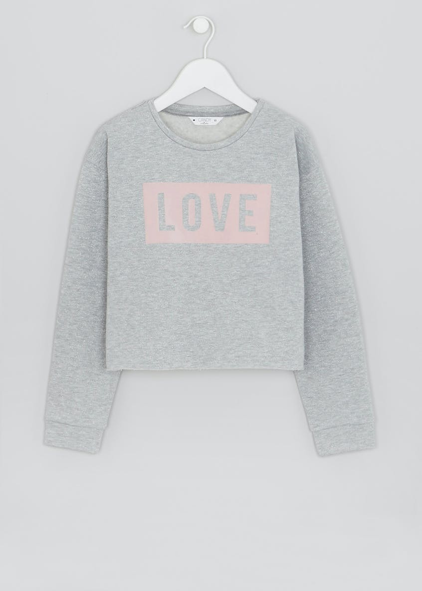Girls Lurex Love Slogan Sweatshirt (9-16yrs)