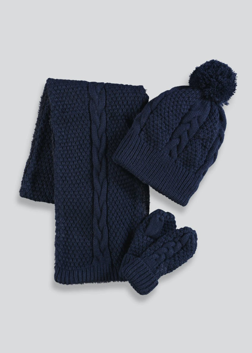Unisex Hat Scarf & Mittens Set (12mths-4yrs)