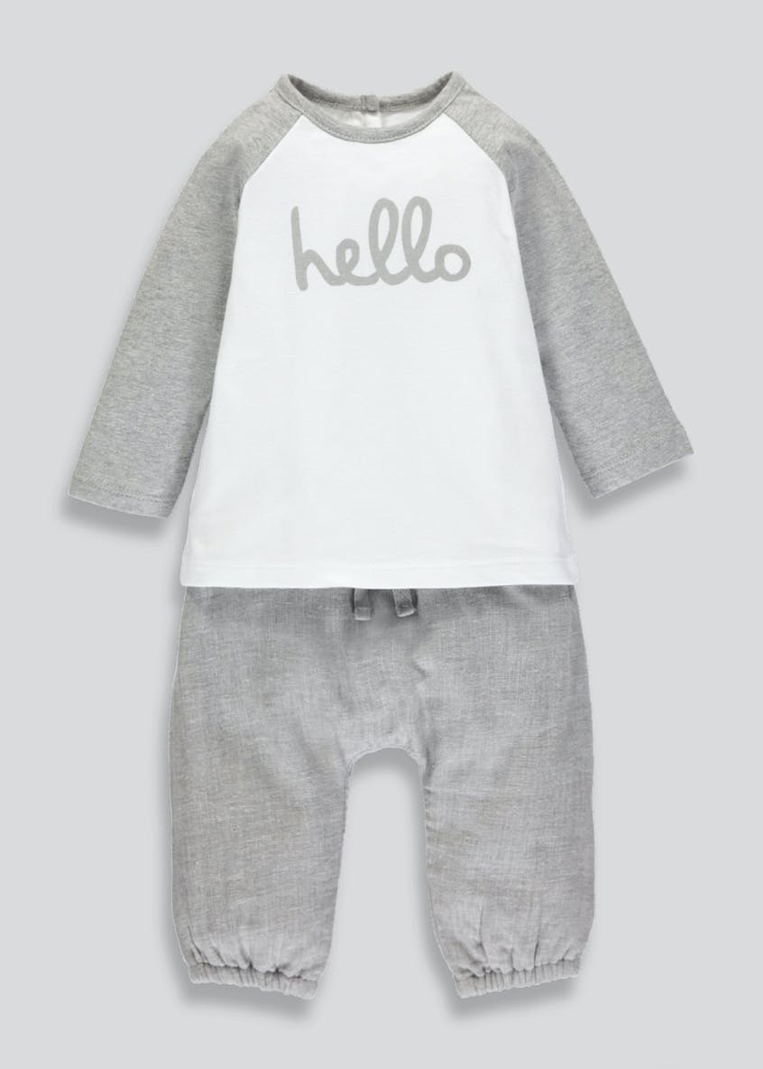 Unisex Hello Slogan Set (Newborn-18mths)