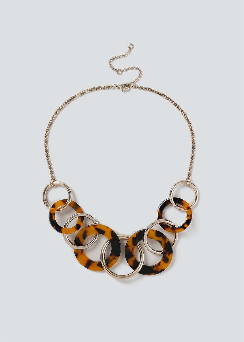 Circle Linked Tortoiseshell Necklace