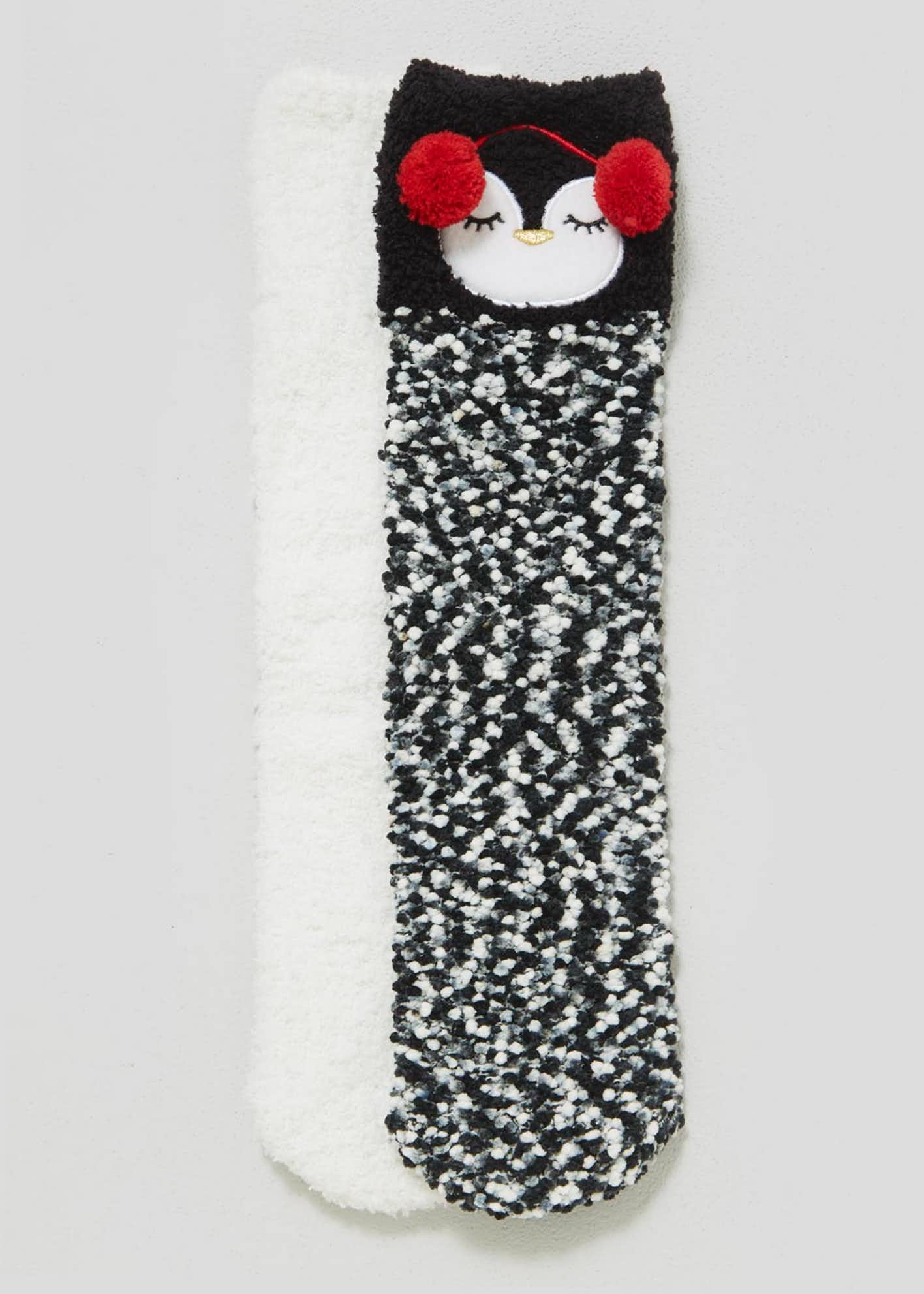2 Pack Penguin Chenille Fluffy Socks