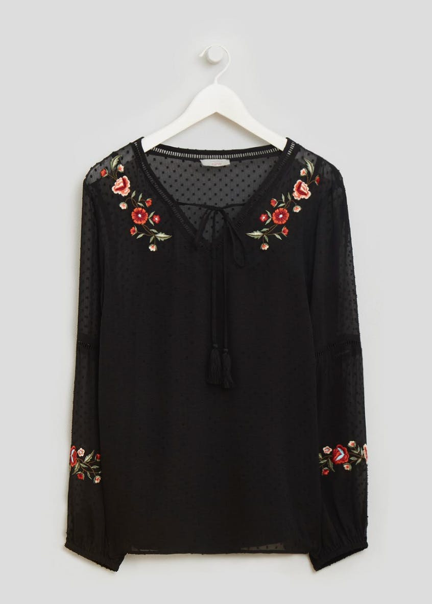 Papaya Curve Floral Embroidered Dobby Blouse