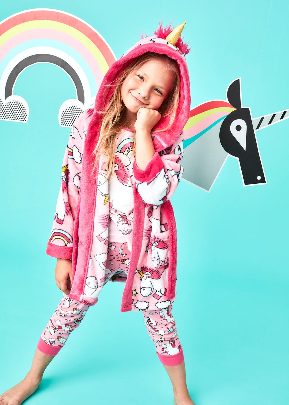 Kids Minions Fluffy the Unicorn Dressing Gown (2-9yrs) – Pink – Matalan