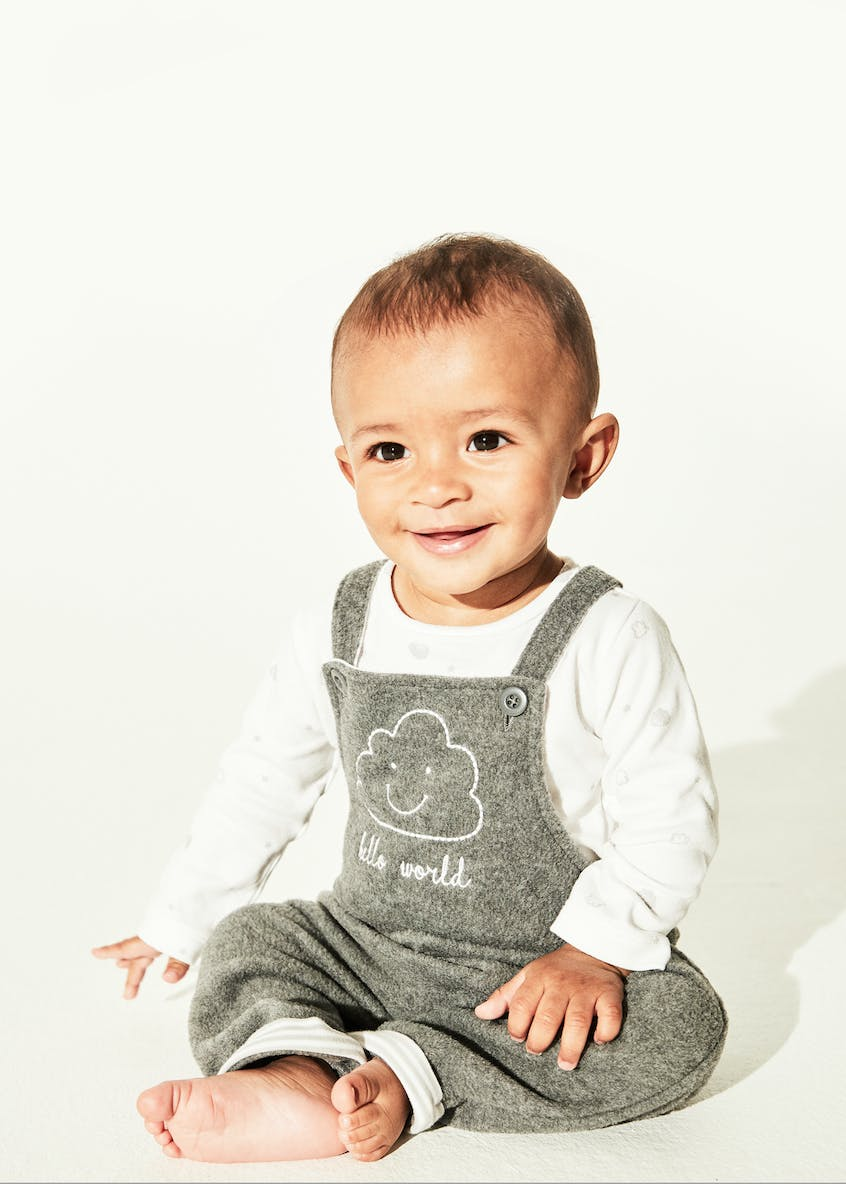 Unisex Cloud Fleece Dungarees & Bodysuit Set (Tiny Baby-12mths)