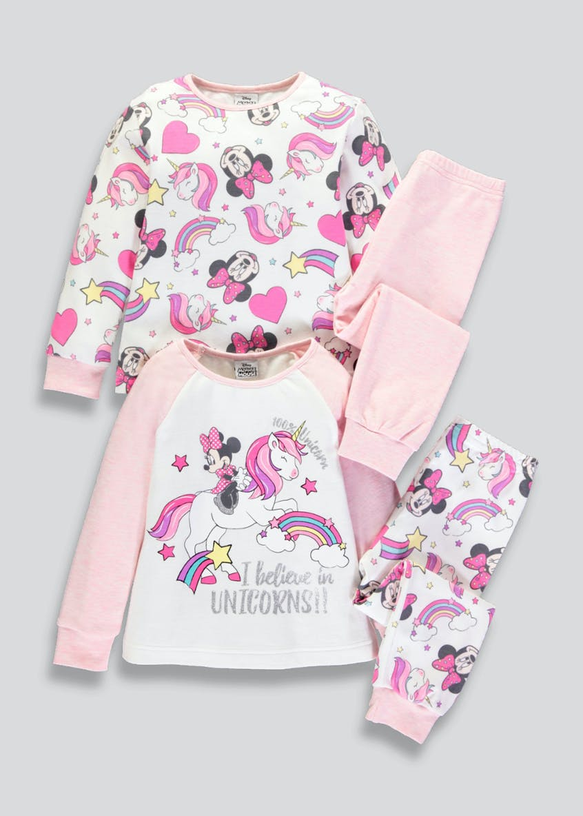 Kids 2 Pack Disney Minnie Mouse Pyjamas (3mths-5yrs)
