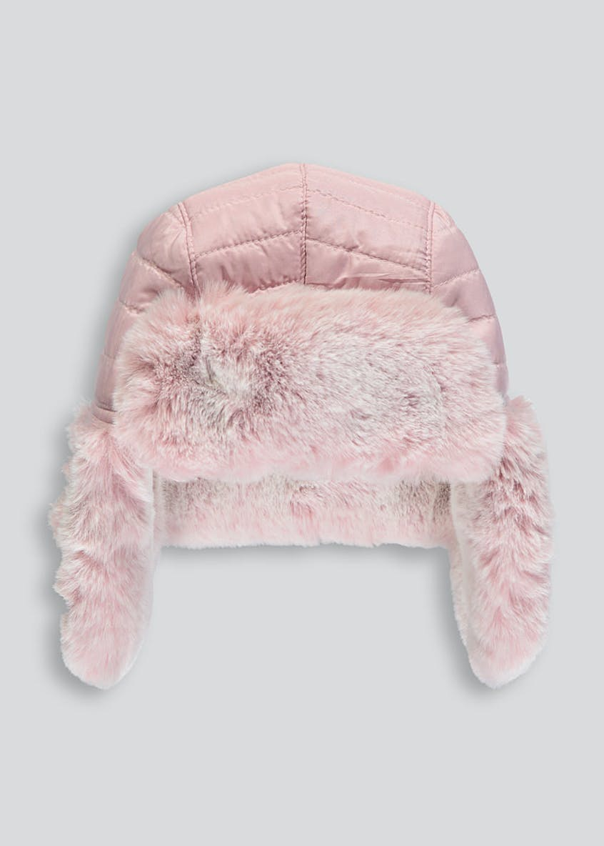 Girls Faux Fur Quilted Trapper Hat (3-13yrs)