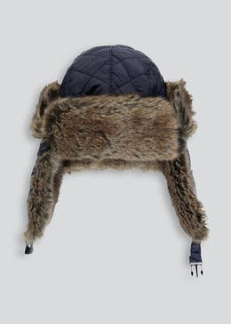 Kids Faux Fur Quilted Trapper Hat (3-13yrs)