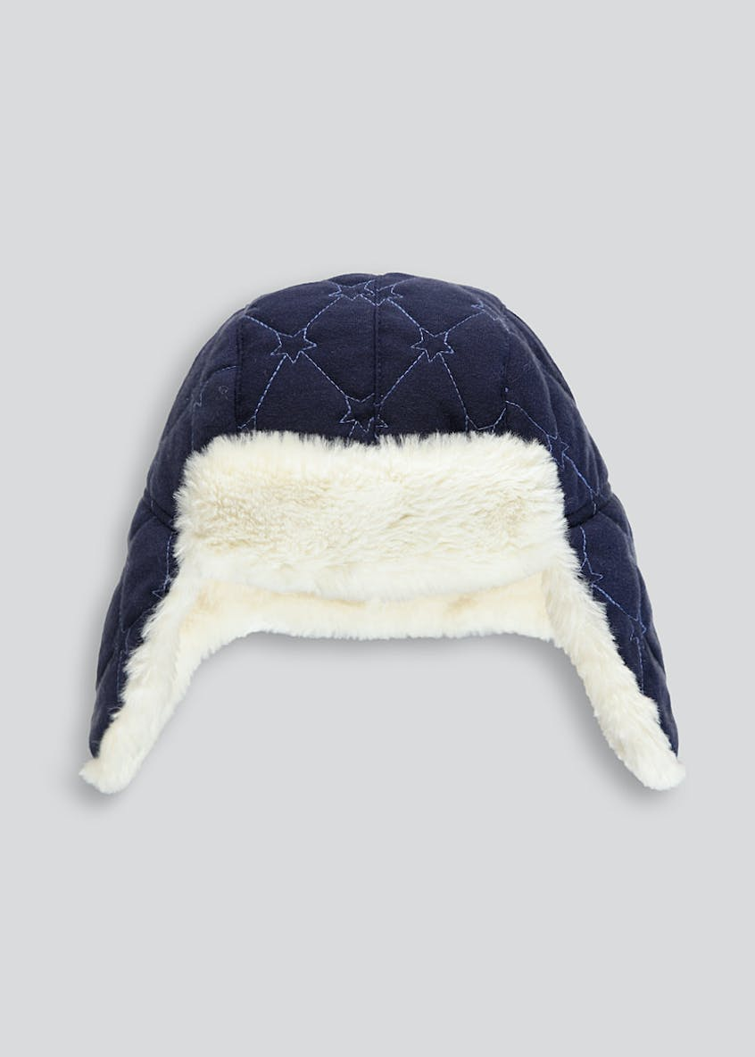 Kids Star Quilted Faux Fur Trapper Hat (6mths-4yrs)
