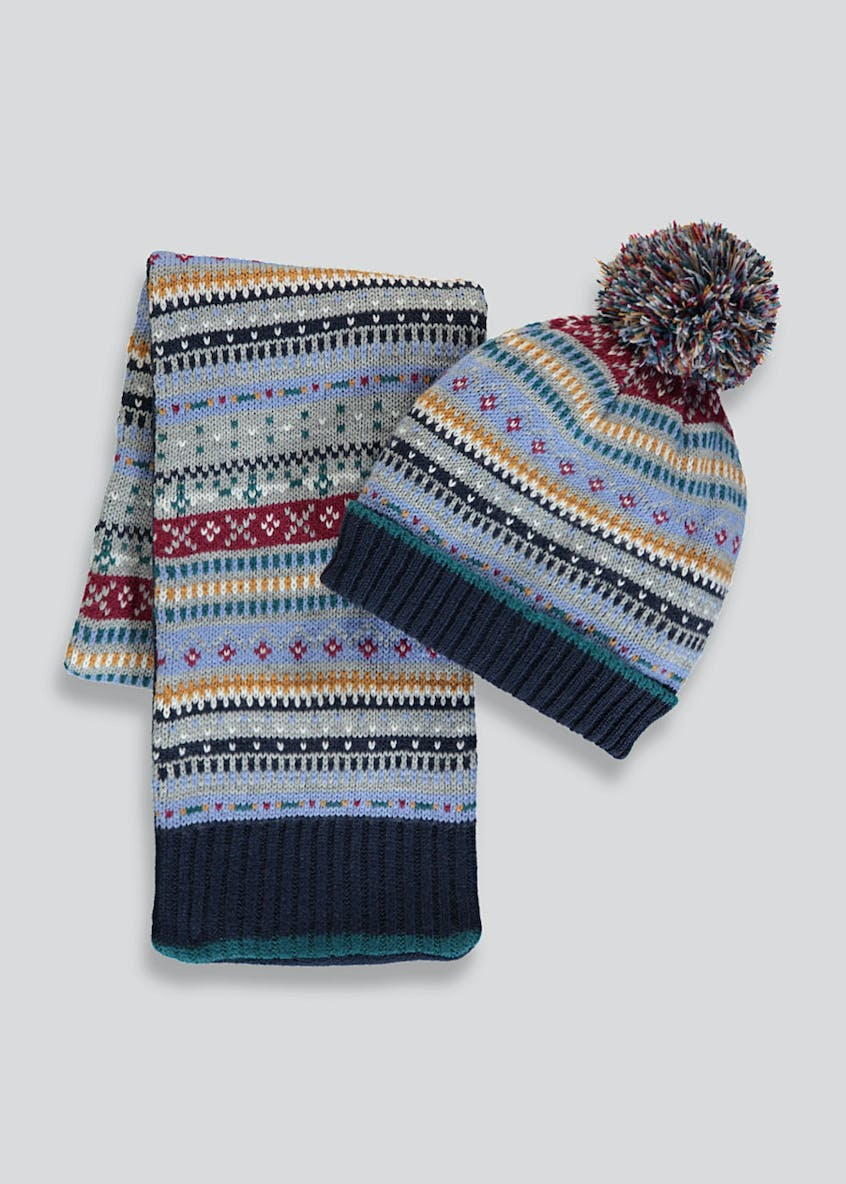 Kids Fair Isle Bobble Hat & Scarf Set (12mths-4yrs)
