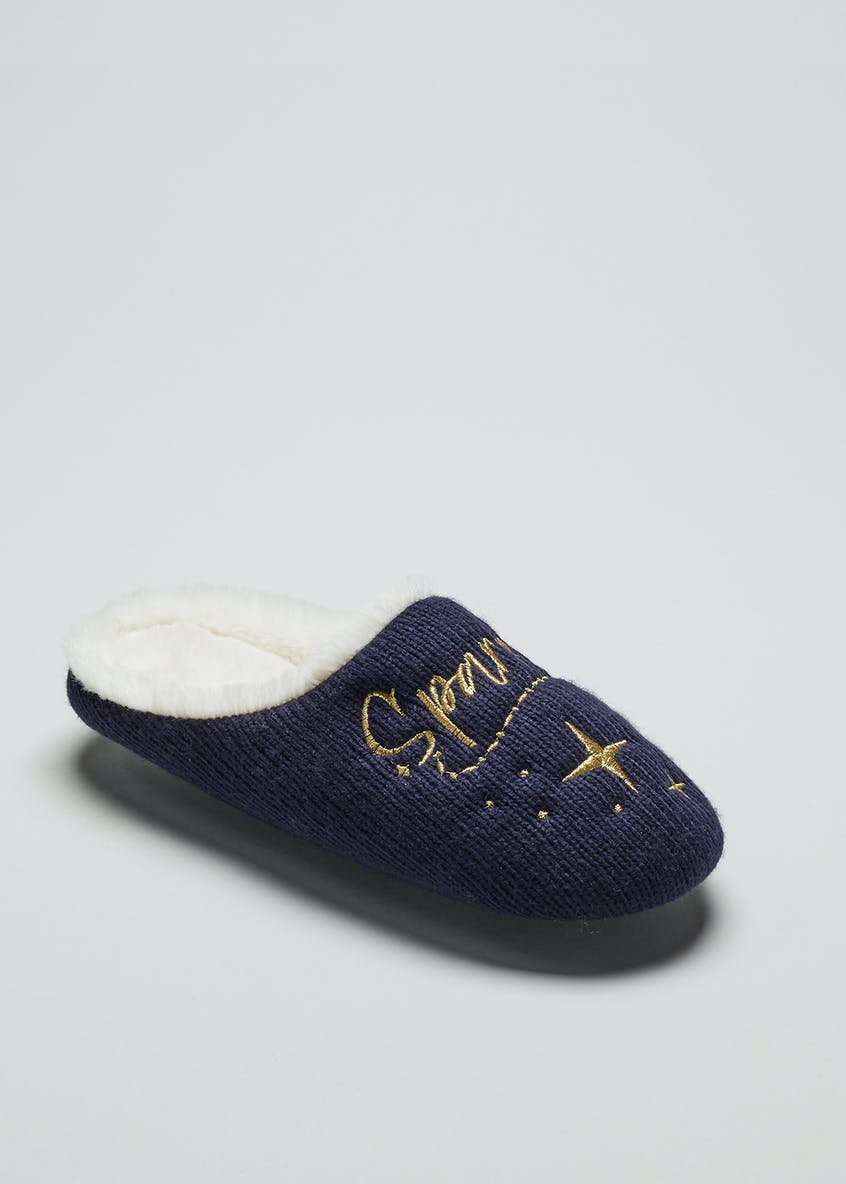 Sparkle Knitted Mule Slippers