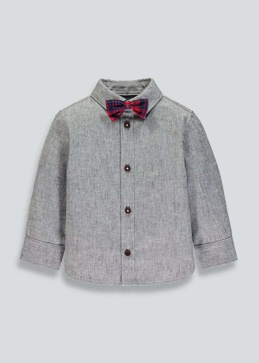 Boys Shirt & Tartan Bow Tie Set (6mths-6yrs)