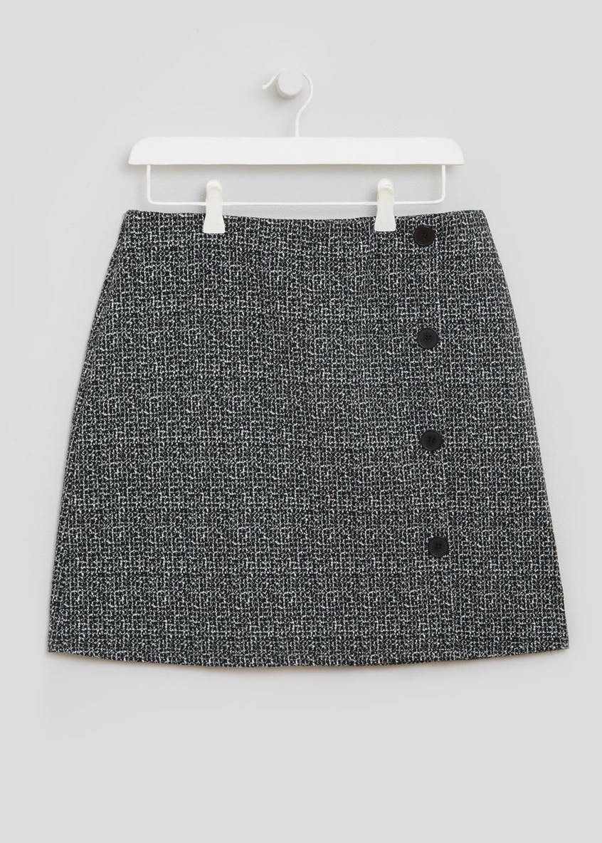 Button Front Ponte A-Line Skirt