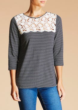 Falmer Stripe Lace Yoke Jersey Top
