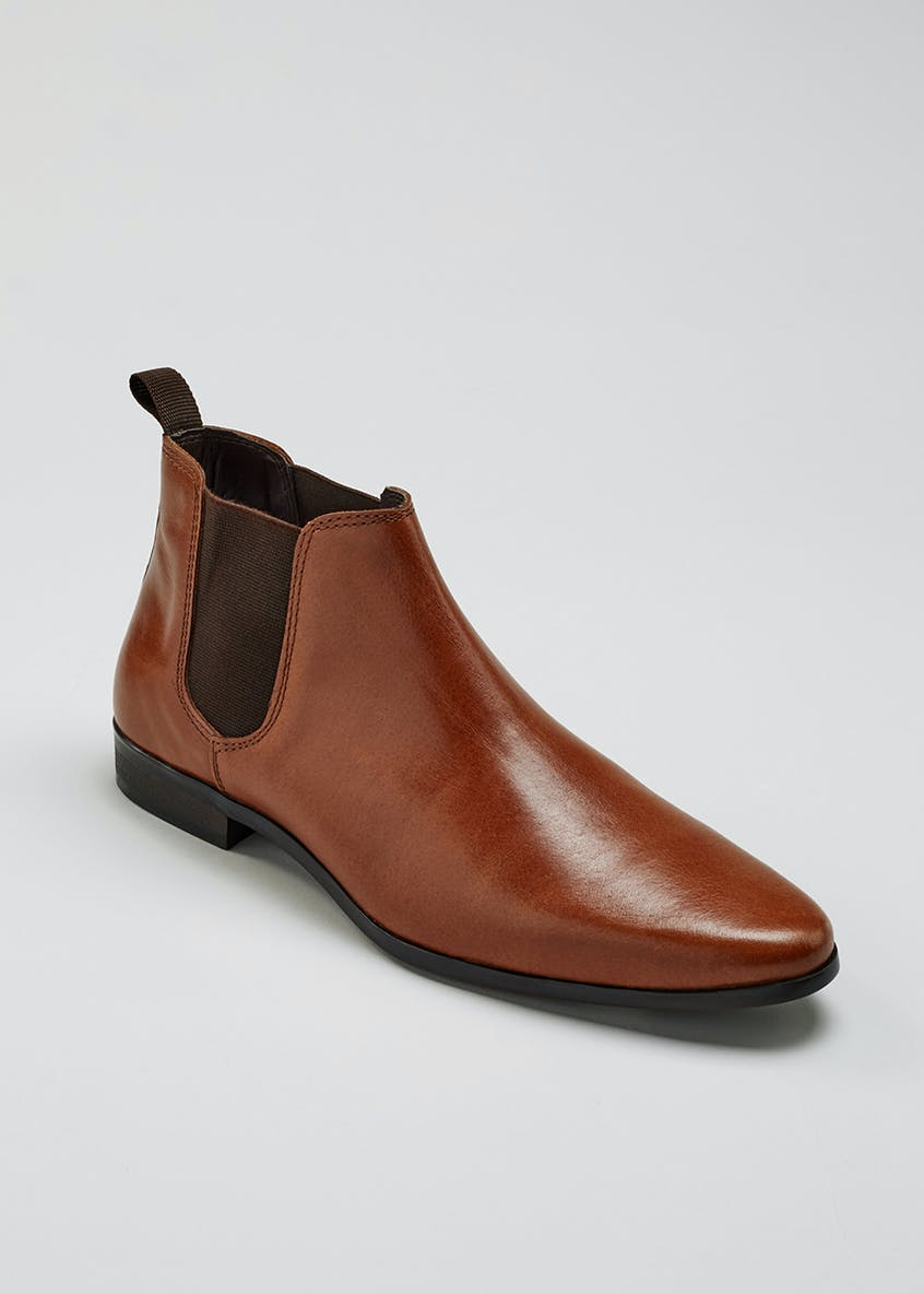 Real Leather Pointed Chelsea Boots