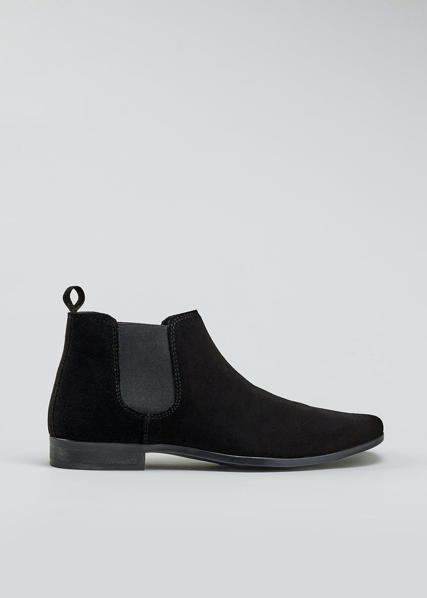 Real Suede Pointed Chelsea Boots