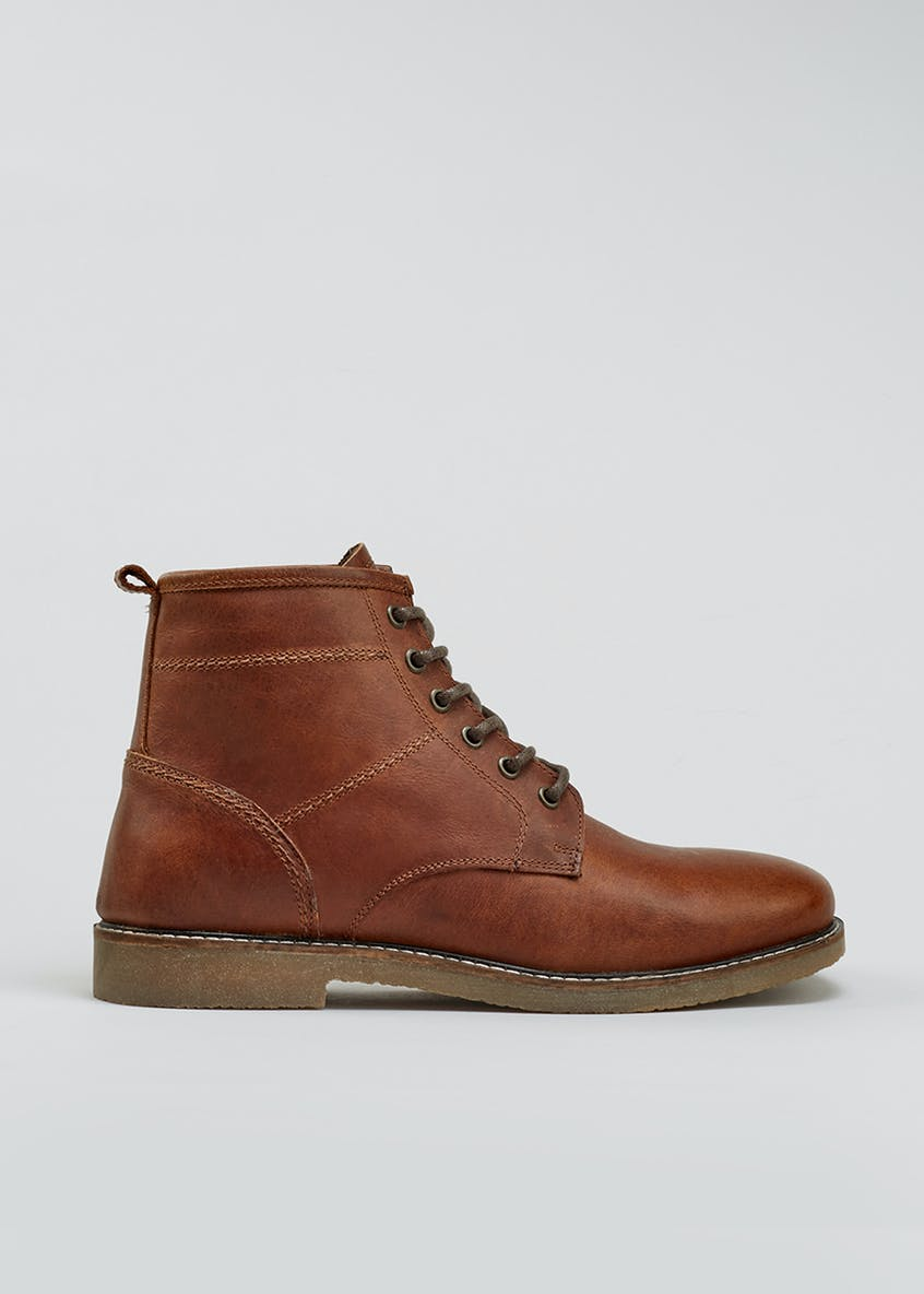 Real Leather Crepe Sole Boots