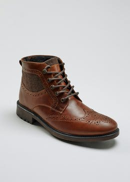 Real Leather Brogue Boots