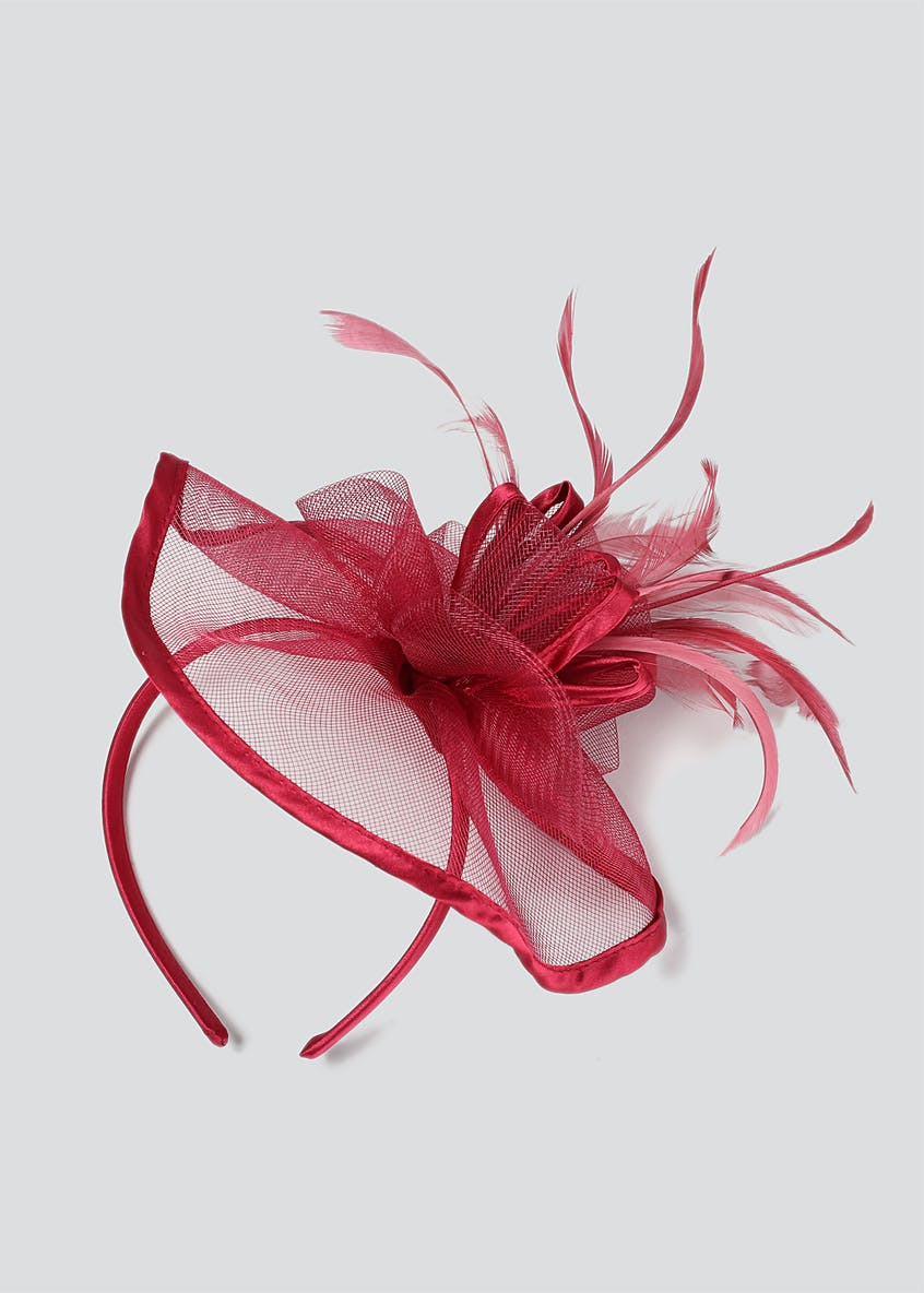 Satin Trim And Feather Fascinator