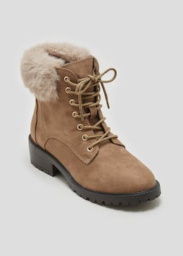 Faux Fur Collar Lace Up Boots