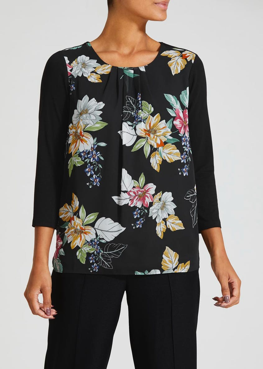 Floral Pleated Woven Front Top