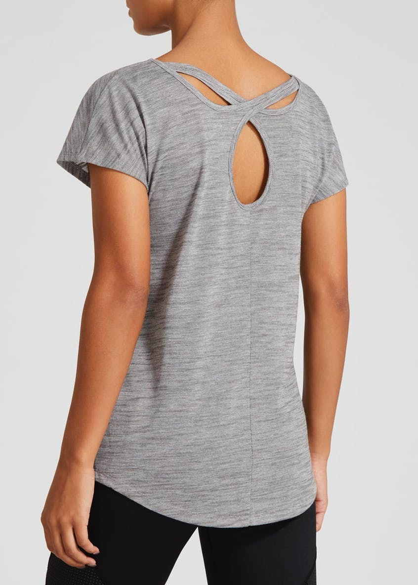 Souluxe Grey Cross Back Gym T-Shirt