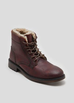 Real Leather Faux Fur Lined Lace Up Boots