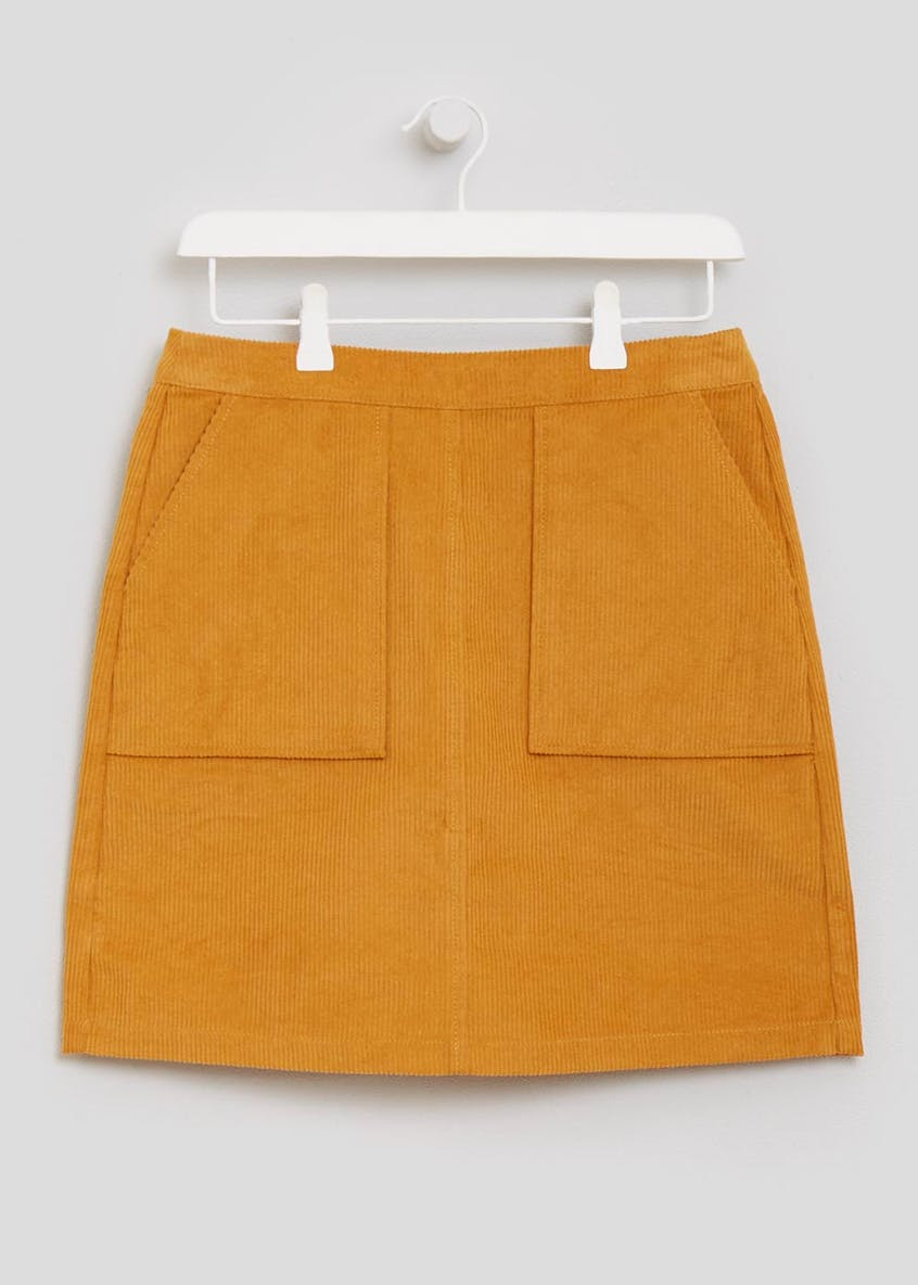 Cord Zip Back A-Line Skirt