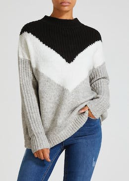 Colour Block Chevron Jumper