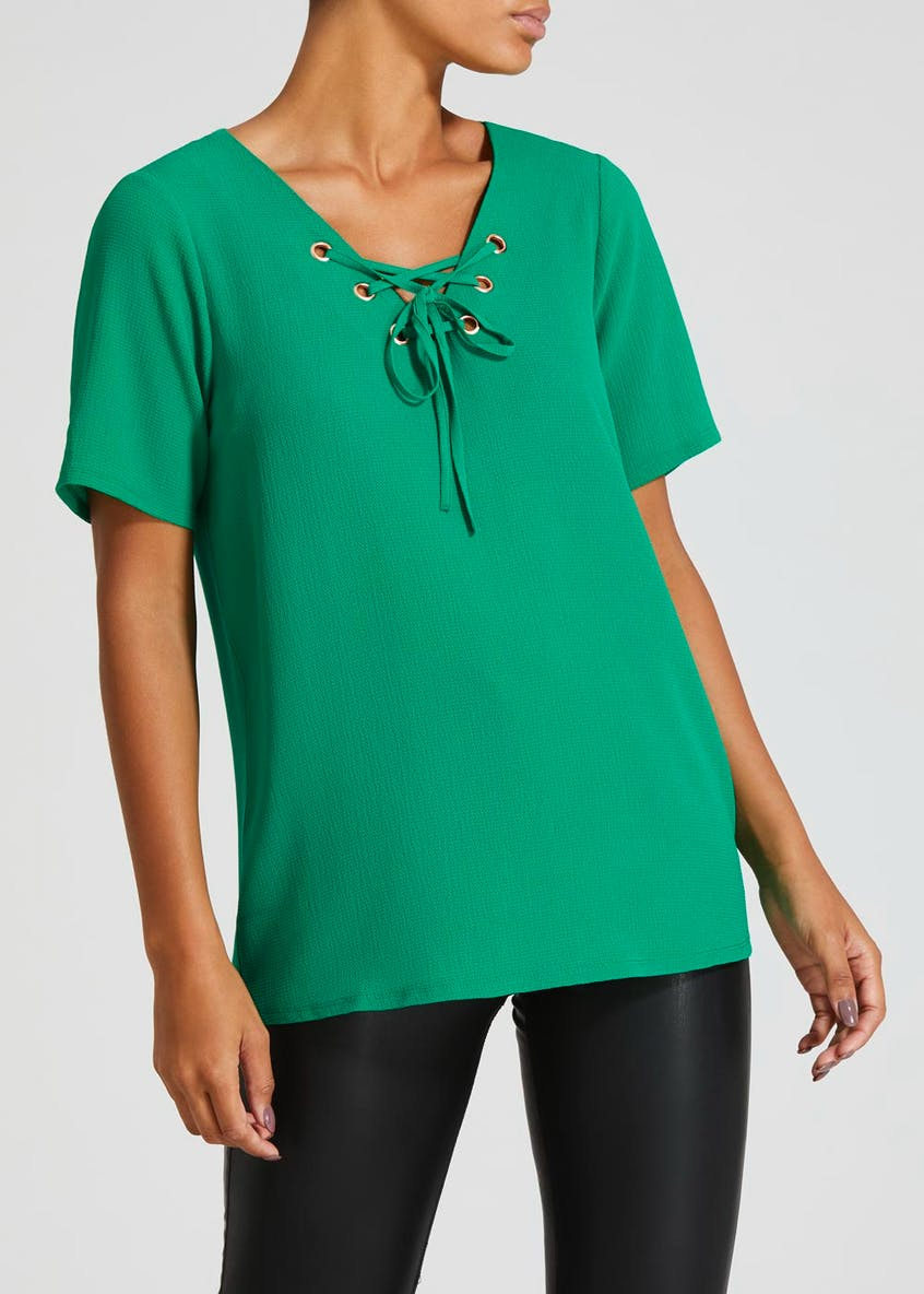 Eyelet Lattice Woven Front Top