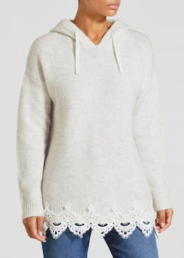 Falmer Lace Hem Knitted Hoodie