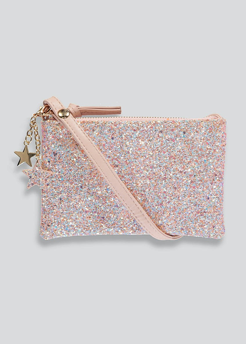 Girls Star Charm Glitter Clutch Bag