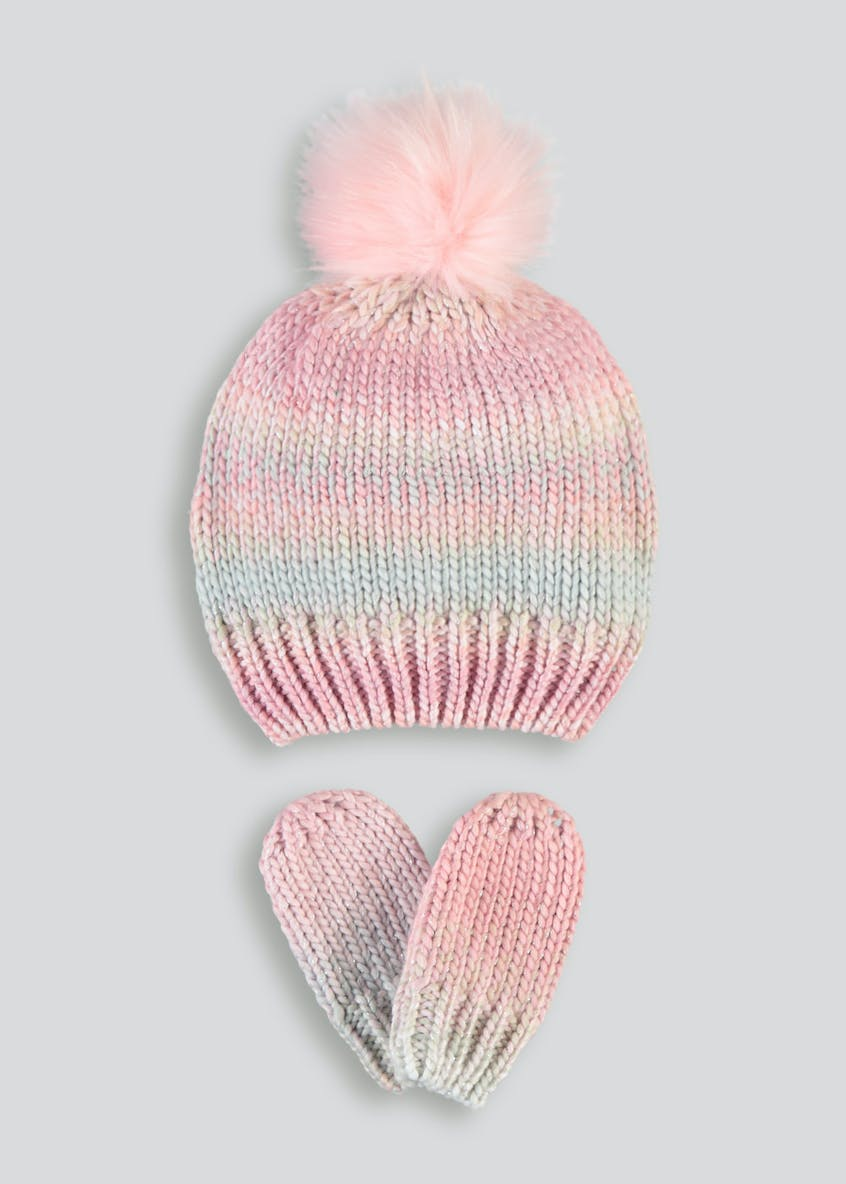Girls Space Dye Bobble Hat & Mittens (6mths-4yrs)