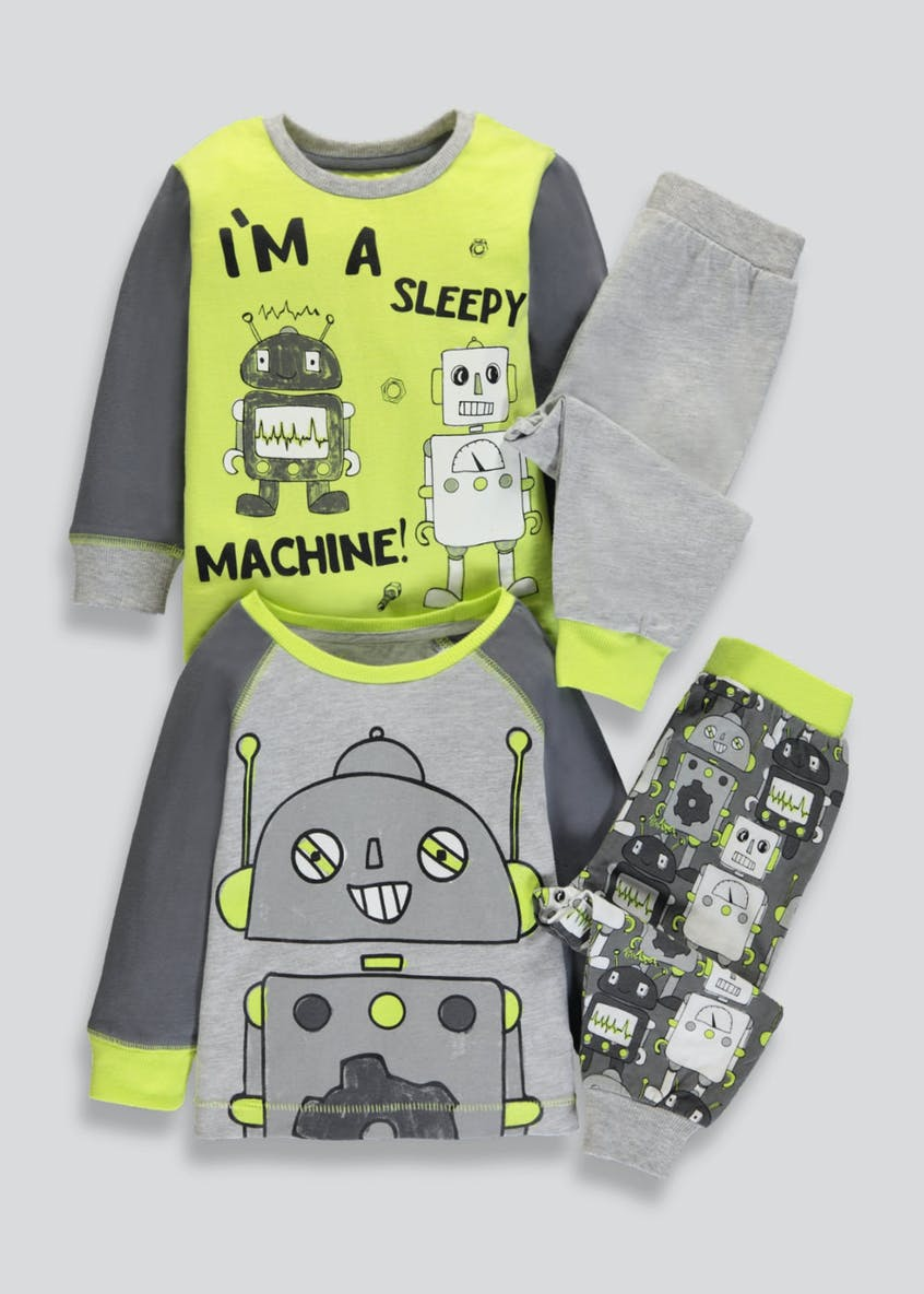 Kids 2 Pack Robot Pyjamas (9mths-5yrs)