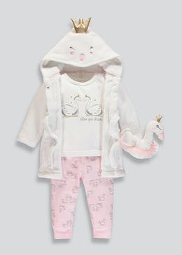 Girls 4 Piece Pyjamas Dressing Gown & Toy Set (12mths-5yrs)