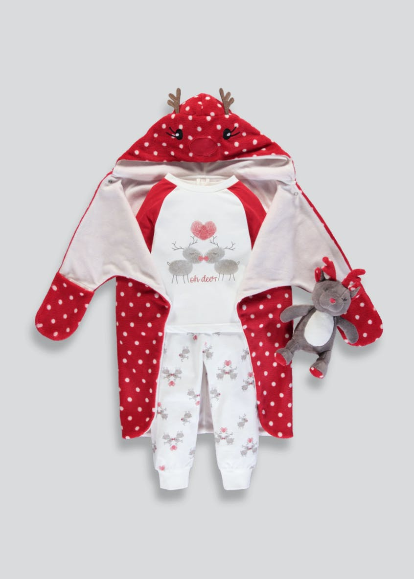 Kids 4 Piece Reindeer Christmas Pyjamas, Dressing Gown & Toy Set (9mths-5yrs)