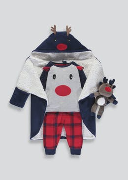 Kids 4 Piece Christmas Reindeer Pyjamas, Dressing Gown & Toy Set (9mths-5yrs)