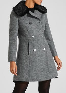 Papaya Petite Faux Fur Collar Double Breasted Dolly Coat