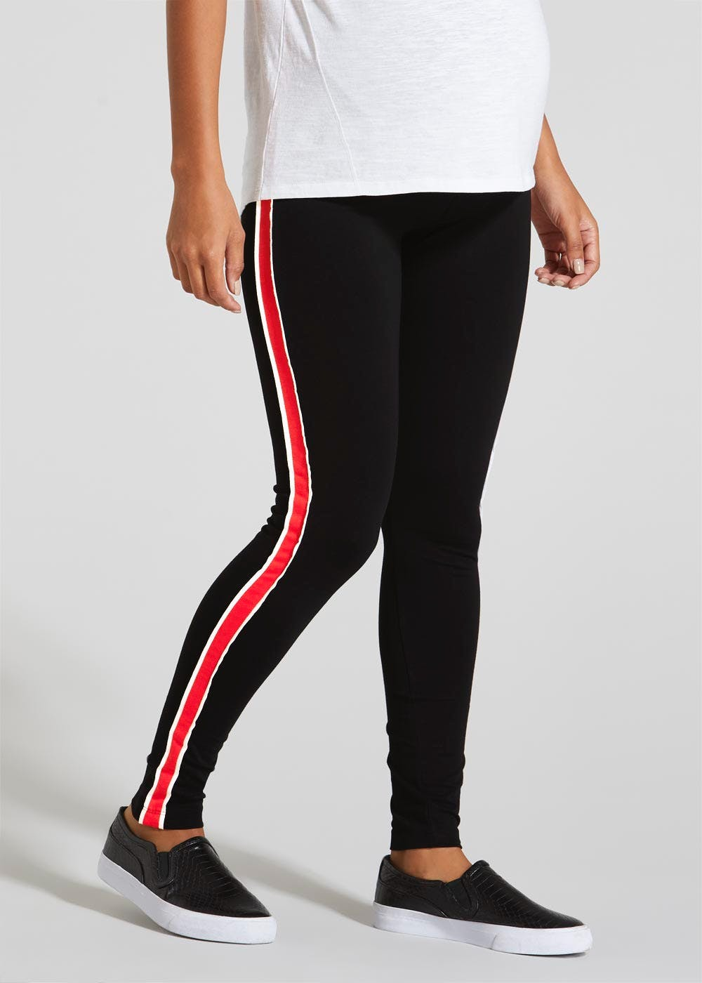 946e05c57ca29 Maternity Side Stripe Leggings – Black – Matalan