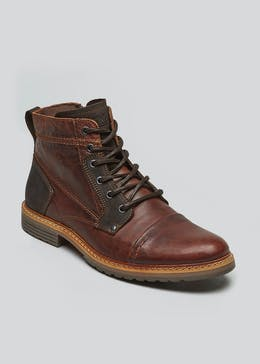 Real Leather Toe Cap Boots