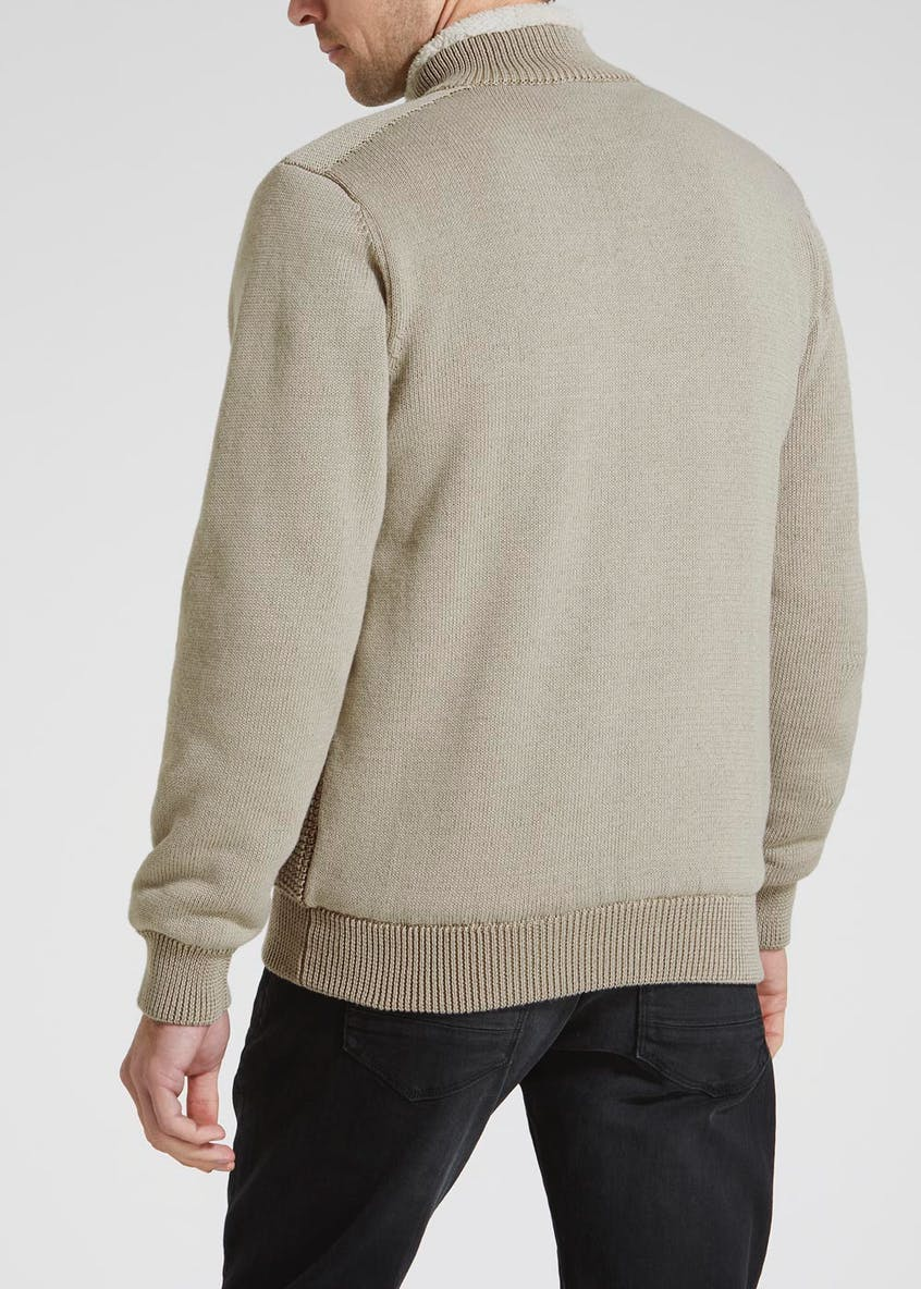 Borg Lined Knitted Zip Through Jacket