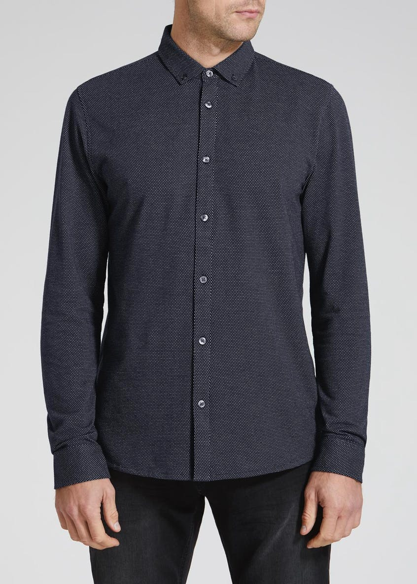 Long Sleeve Jacquard Button Through Polo Shirt