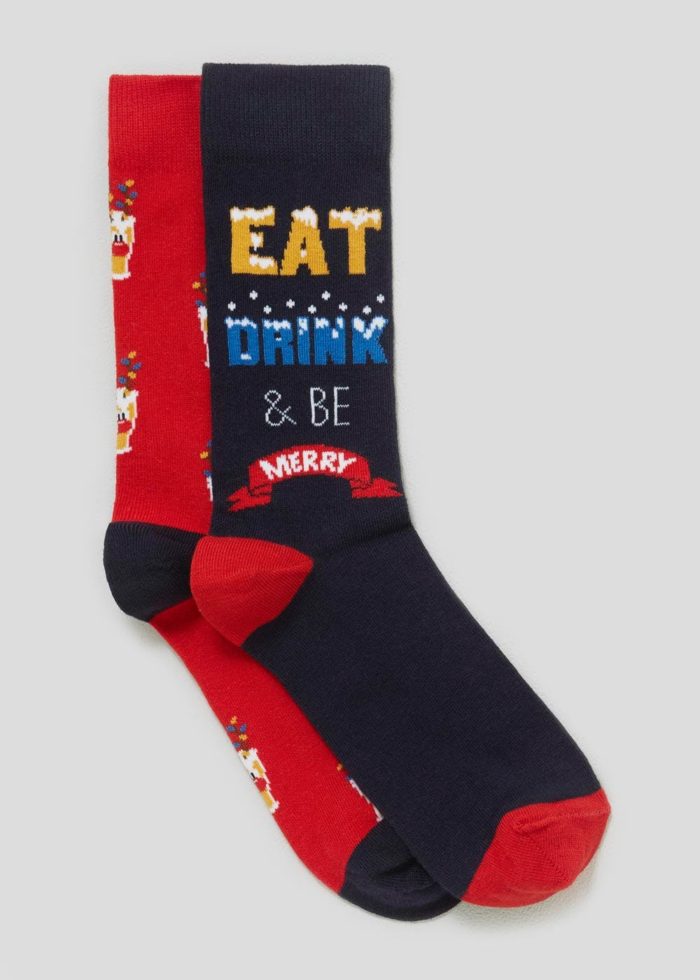 4dcae827db8a 2 Pack Be Merry Christmas Socks – Red – Matalan