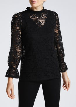 Lace High Neck Bell Sleeve Blouse