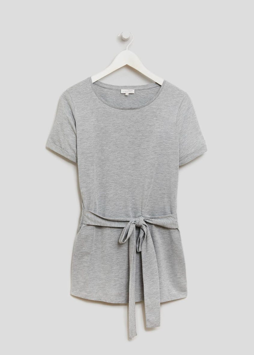 Maternity Short Sleeve Tie Front Tunic Top