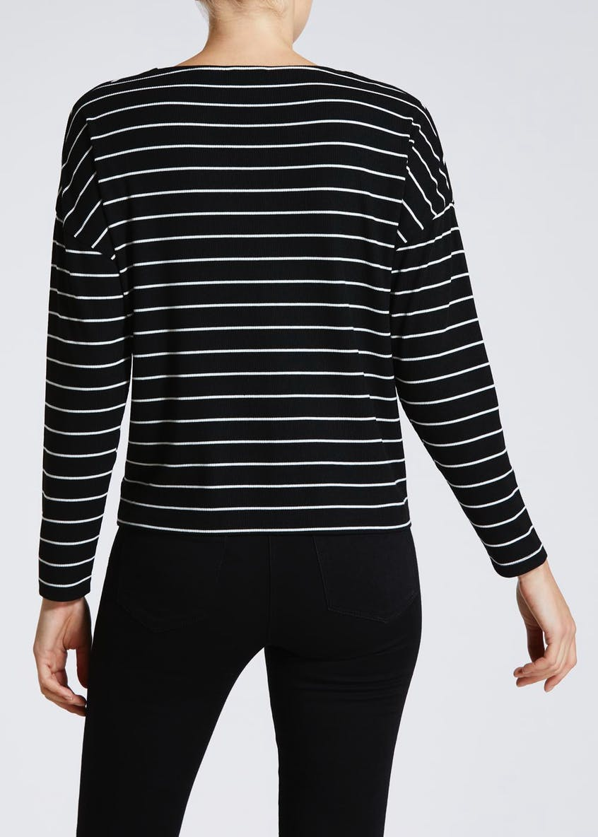 Stripe Ribbed Button Front Top
