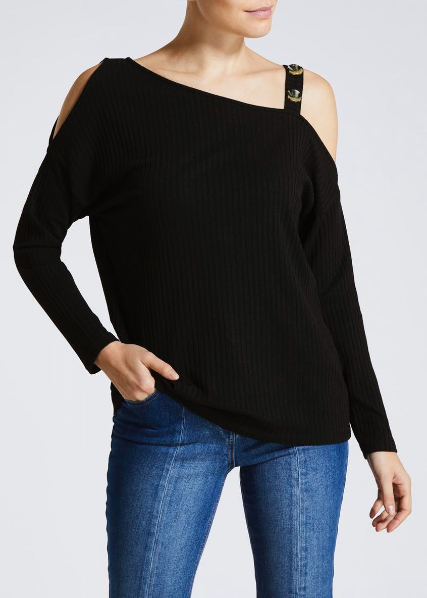 Button Asymmetric Cold Shoulder Top