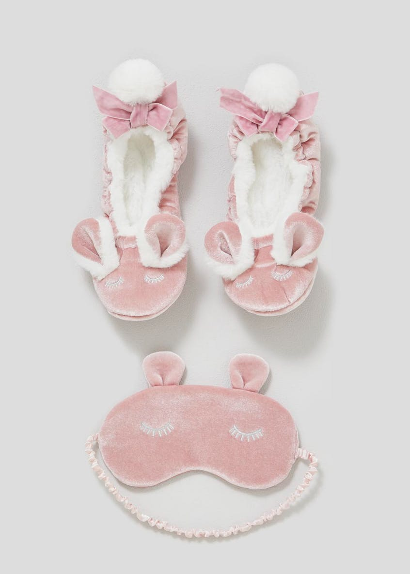 Bunny Ballet Slippers & Eye Mask Set (One Size)