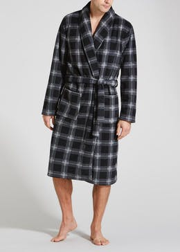 Check Bonded Fleece Dressing Gown
